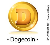 dogecoin. gold coin with... | Shutterstock .eps vector #712268623
