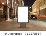 blank street billboard at night ... | Shutterstock . vector #712270594