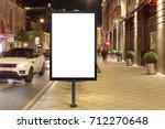 blank street billboard at night ... | Shutterstock . vector #712270648