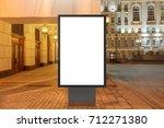 blank street billboard at night ...   Shutterstock . vector #712271380