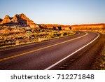 scenic highway winds through...   Shutterstock . vector #712271848