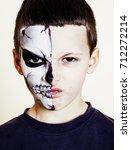 little cute boy with facepaint...   Shutterstock . vector #712272214