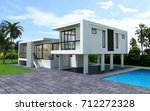 3d modern house rendering...   Shutterstock . vector #712272328