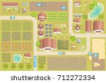vector illustration. green farm.... | Shutterstock .eps vector #712272334