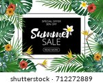 sale banner  poster with exotic ... | Shutterstock . vector #712272889