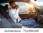 businessman manager driving car ... | Shutterstock . vector #712284100