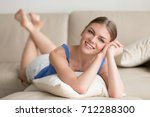 young smiling attractive woman... | Shutterstock . vector #712288300