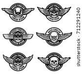 set of biker club emblems
