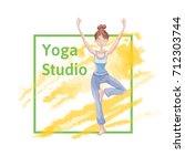 young cute girl practice yoga ...   Shutterstock .eps vector #712303744