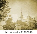 vintage castle an old paper - stock photo