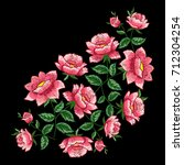 roses embroidery on black... | Shutterstock .eps vector #712304254