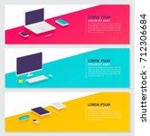 flat style digital banner set... | Shutterstock .eps vector #712306684