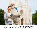happy mature companions with... | Shutterstock . vector #712307476