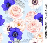 seamless pattern with eustoma... | Shutterstock .eps vector #712315360