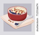 oatmeal breakfast vector hand... | Shutterstock .eps vector #712316674