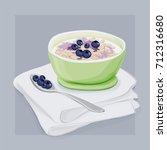 oatmeal breakfast vector hand... | Shutterstock .eps vector #712316680