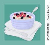 oatmeal breakfast vector hand... | Shutterstock .eps vector #712316734