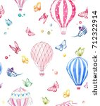 cute balloon watercolor pattern.... | Shutterstock . vector #712322914