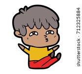 cartoon curious man | Shutterstock .eps vector #712325884