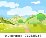 green landscape with fields and ... | Shutterstock .eps vector #712335169