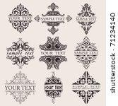 Set Of Nine Ornate Banner Text...