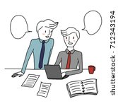 two colleagues working together.... | Shutterstock .eps vector #712343194