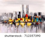 oil painting   city view of new ... | Shutterstock . vector #712357390