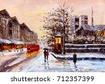 Oil Painting   Street View Of...