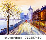 oil painting   street view of... | Shutterstock . vector #712357450
