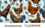 embroidery chicken and rooster... | Shutterstock .eps vector #712359949
