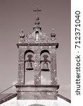 Small photo of San Adrian Chapel Bell Tower, Malpica; Fisterra; Costa de la Muerte; Spain in Black and White Sepia Tone