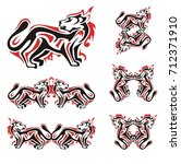 cat symbols in red and black... | Shutterstock .eps vector #712371910