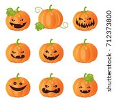 collection of pumpkins mood... | Shutterstock .eps vector #712373800