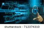 cyber network concept  holding... | Shutterstock . vector #712374310