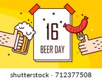 banner with calendar  beer mug... | Shutterstock .eps vector #712377508