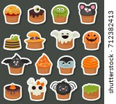 set of halloween cupcake... | Shutterstock .eps vector #712382413
