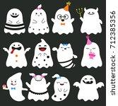 collection of halloween... | Shutterstock .eps vector #712385356