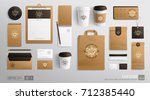 Branding Mockup set for Coffee shop, Cafe, restaurant. Corporate identity mockup. Coffee food package. Realistic MockUp set of cardboard, envelope, single-time cup, paper pack, menu, business card | Shutterstock vector #712385440