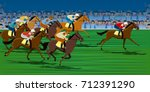 horse race in racecourse | Shutterstock .eps vector #712391290