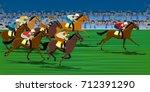 horse race in racecourse | Shutterstock .eps vector #712391290