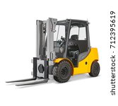 forklift truck isolated on... | Shutterstock . vector #712395619