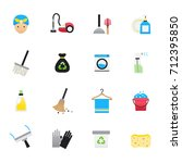 cleaning icons. set of cleaning ... | Shutterstock .eps vector #712395850