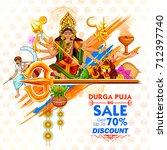 illustration of goddess durga... | Shutterstock .eps vector #712397740