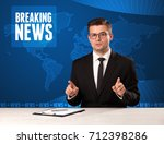television presenter in front... | Shutterstock . vector #712398286