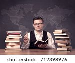 a young ambitious geography... | Shutterstock . vector #712398976