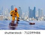 engineering cleaning of solar...   Shutterstock . vector #712399486