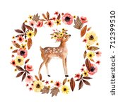watercolor deer fawn among... | Shutterstock . vector #712399510