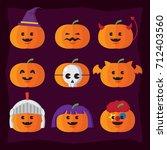 halloween icon pumpkin and... | Shutterstock .eps vector #712403560