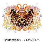 grunge colorful floral... | Shutterstock .eps vector #712404574