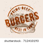 vector hand drawn hamburger... | Shutterstock .eps vector #712410193
